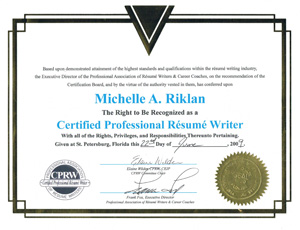 michelle is an internationally recognized award winning resume writer and a member of several prestigious career training and resume writing